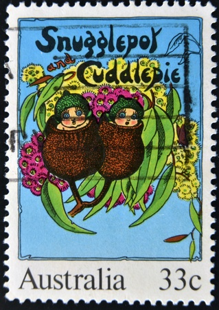 AUSTRALIA - CIRCA 1985: stamp printed by Australia, shows Illustrations from classic children´s books, Snugglepot and Cuddlepie by May Gibbs, circa 1985  illustration