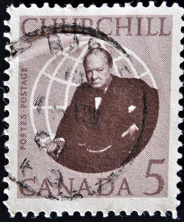 CANADA - CIRCA 1965: stamp printed in Canada shows Winston Churchill, circa 1965  Stock Photo - 12201429