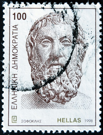 GREECE - CIRCA 1998: A stamp printed in Greece shows Socrates, circa 1998 Stock Photo - 12201415