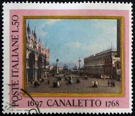 philatelic: ITALY - CIRCA 1968: a stamp printed in Italy celebrates the bicentenary of the death of  Canaletto, the italian painter famous for his landscapes of Venice, circa 1968