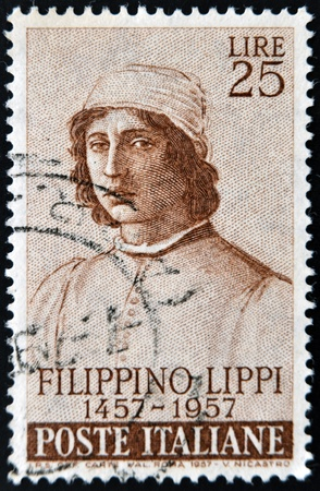 ITALY - CIRCA 1957: A stamp printed in France shows Filippino Lippi, circa 1957