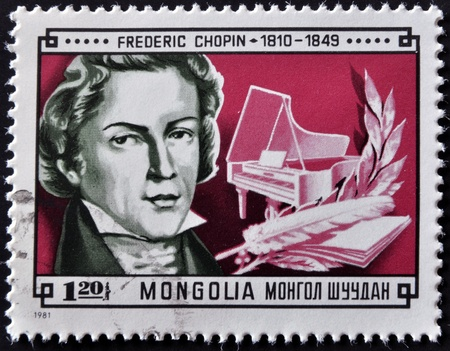 frederic chopin: MONGOLIA - CIRCA 1981: A stamp printed in Mongolia shows image of the famous composer Frederic Chopin,  circa 1981