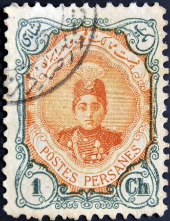 postes: IRAN - CIRCA 1911: A stamp printed in Iran shows Ahmad Shah Small, circa 1911