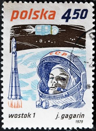 gagarin: POLAND - CIRCA 1979: A stamp printed in Poland shows first-ever cosmonaut Jury Gagarin, circa 1979 Stock Photo