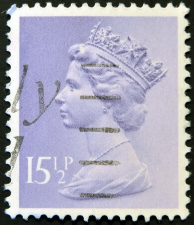 UNITED KINGDOM - CIRCA 1980: An English stamp printed in Great Britain shows Portrait of Queen Elizabeth, circa 1980.  Stock Photo - 12201391