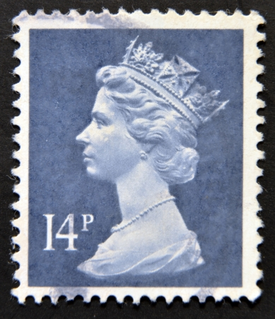old english letters: UNITED KINGDOM - CIRCA 1971: An English stamp printed in Great Britain shows Portrait of Queen Elizabeth, circa 1971.