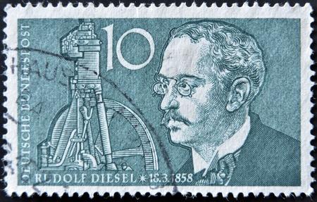 rudolf: GERMANY - CIRCA 1958  A stamp printed in Germany shows Rudolf Diesel, circa 1958