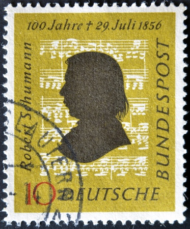 GERMANY - CIRCA 1956: A stamp printed in Germany shows Robert Schumann, circa 1956 Stock Photo - 12445496
