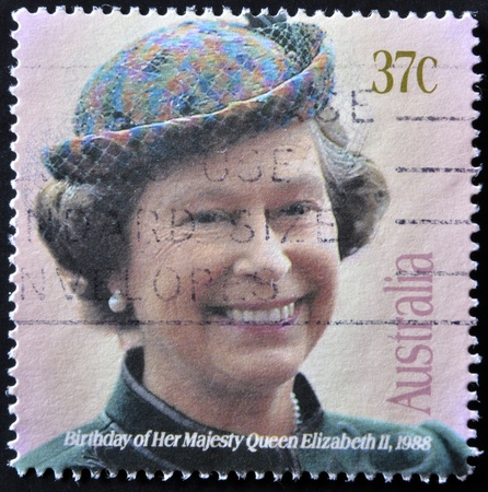AUSTRALIA - CIRCA 1988: A stamp printed in Australia showing queen Elisabeth II, circa 1988