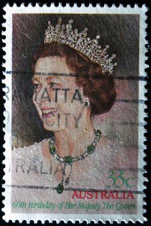 elisabeth: AUSTRALIA - CIRCA 1986: A stamp printed in Australia showing queen Elisabeth II, circa 1986