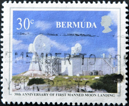 manned: BERMUDA - CIRCA 1986: A stamp printed in Bermuda dedicated to 30th anniversary of first manned moon landing, circa 1986