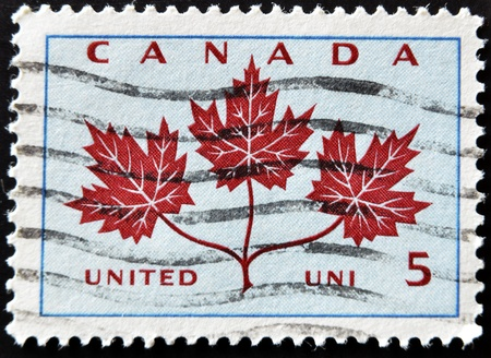 CANADA - CIRCA 1964: A stamp printed in Canada shows Maple Leaf, circa 1964