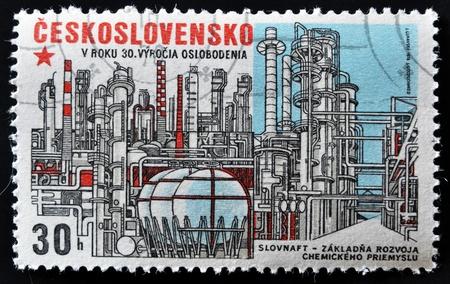 czechoslovakia: CZECHOSLOVAKIA - CIRCA 1960: A stamp printed in Czechoslovakia, shows Slovnaft - Chemical Industry Base Development, circa 1975