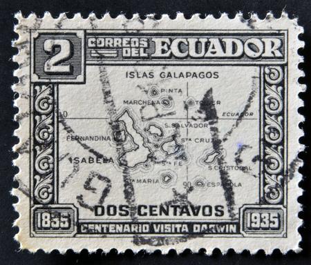 ECUADOR - CIRCA 1935: A stamp printed in Ecuador commemorating the centenary of Darwins visit to the Galapagos Islands, circa 1935