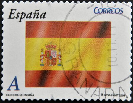 SPAIN - CIRCA 2009: A stamp printed in Spain shows flag, circa 2009 Stock Photo - 12445471