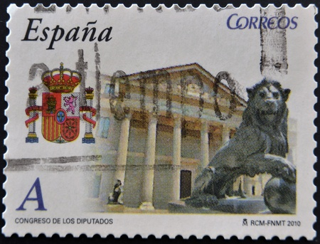 SPAIN - CIRCA 2010: A stamp printed in spain shows the building of the Congress of Deputies, circa 2010 Stock Photo - 12445488
