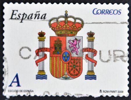 SPAIN - CIRCA 2009: A stamp printed in spain shows shield of Spain, circa 2009
