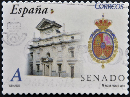 SPAIN - CIRCA 2010: A stamp printed in spain shows the building of the Senate, circa 2010
