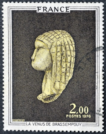 FRANCE - CIRCA 1976: stamp printed by France, shows Venus of Brassempouy, circa 1976