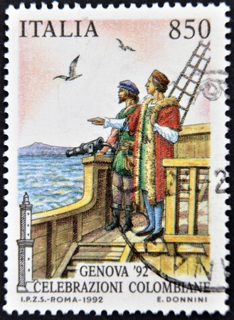colonizer: ITALY - CIRCA 1992: A stamp printed in Italy dedicated to Christopher Columbus, circa 1992 Editorial