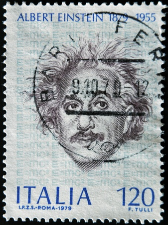 ITALY - CIRCA 1979: A stamp printed in Italy shows Albert Einstein, circa 1979 Stock Photo - 12445532