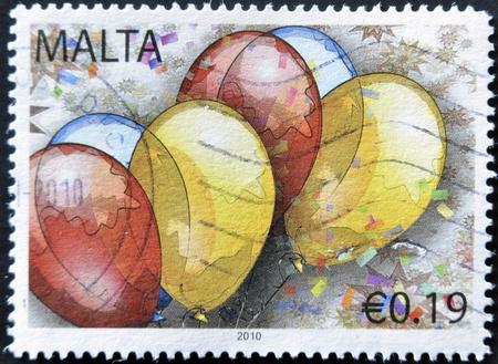 MALTA - CIRCA 2010: A stamp printed in alta shows ballons, circa 2010 Stock Photo - 12464737
