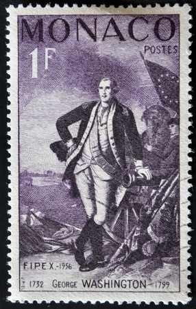 MONACO - CIRCA 1956: A stamp printed in Monaco shows George Washington, circa 1956