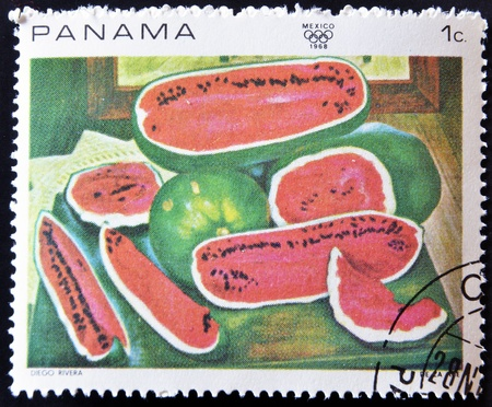PANAMA - CIRCA 1968: A stamp printed in Panama shows the work the watermelons by Diego Rivera, circa 1968 photo