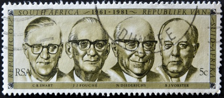 apartheid: SOUTH AFRICA - CIRCA 1981: A stamp Printed in RSA shows Presidents 1961-1981 (Swart, Fouche, Diederichs and Vorster), circa 1981