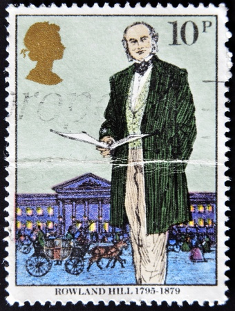 originator: UNITED KINGDOM - CIRCA 1979: a stamp printed in the Great Britain shows Sir Rowland Hill, originator of penny postage, reformer of the postal system, circa 1979