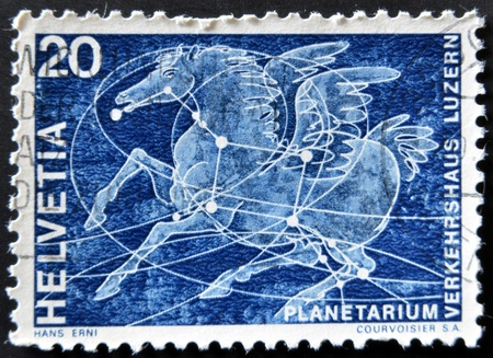 helvetia: SWITZERLAND - CIRCA 1969: A stamp printed in Switzerland shows the constellation of Pegasus, circa 1969 Editorial