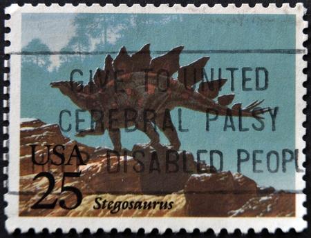 UNITED STATES OF AMERICA - CIRCA 1989: A stamp printed in USA shows a stegosaurus, circa 1989