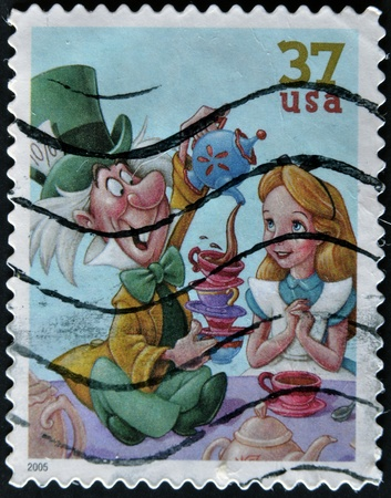 disney cartoon: UNITED STATES - CIRCA 2005: stamp printed in USA shows cartoon, Disney Characters, Mad Hatter, Alice, circa 2005