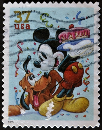 UNITED STATES - CIRCA 2005: stamp printed in USA shows cartoon, Disney Characters, Pluto, Mickey Mouse, circa 2005