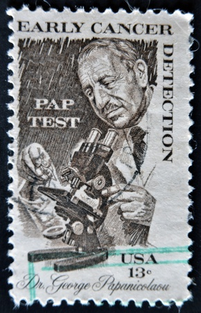 UNITED STATES OF AMERICA - CIRCA 1978: A stamp printed in USA shows Dr. George Papanicolaou, early cancer detenction, circa 1978 Stock Photo - 12445489