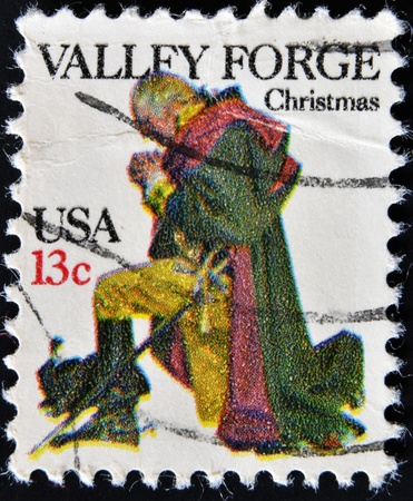 UNITED STATES - CIRCA 1977: A stamp printed in USA shows Washington at Valley Forge, circa 1977