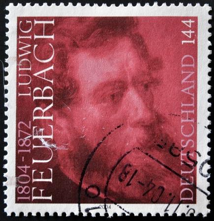 humanisme: ALLEMAGNE - CIRCA 2004: Un timbre imprim� en Allemagne montre Feuerbach, vers 2004