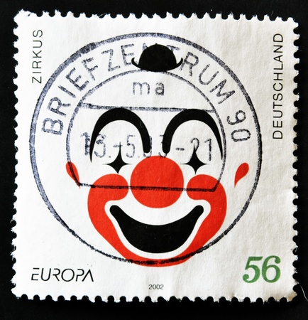 GERMANY - CIRCA 2002: A stamp printed in Germany dedicated to circus shows the face of a clown, circa 2002