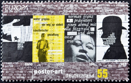 ella: GERMANY - CIRCA 2003: A stamp printed in Germany dedicated to poster art, circa 2003