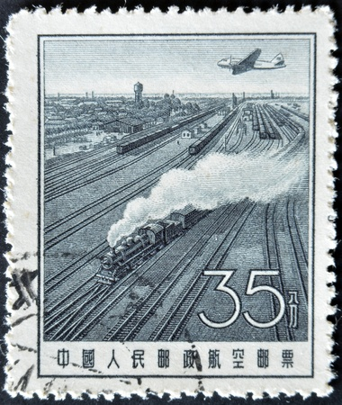 CHINA - CIRCA 1957: A stamp printed in China shows Steam locomotive on track, circa 1957 Stock Photo - 12465024