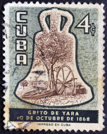 regard: CUBA - CIRCA 1968: A stamp printed in Cuba dedicated to cry of Yara, the beginning of the independence of Cuba with regard to Spain, circa 1968