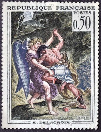 jacob: FRANCE - CIRCA 1963: A stamp printed in France shows the work Jacob Wrestling with the Angel by Eugene Delacroix, circa 1963 Editorial
