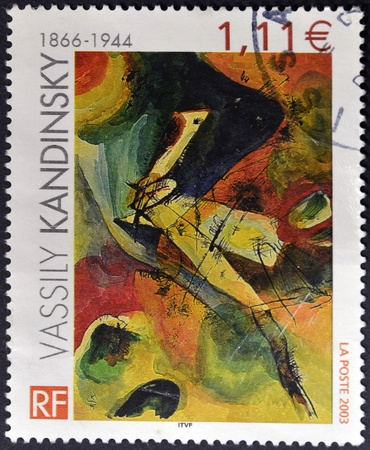 kandinsky: FRANCE - CIRCA 2003: A stamp printed in France shows Painting by Wassily Kandinsky, circa 2003