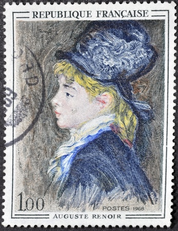 FRANCE - CIRCA 1968: A stamp printed in France shows the work 'The Model' by Auguste Renoir, circa 1968