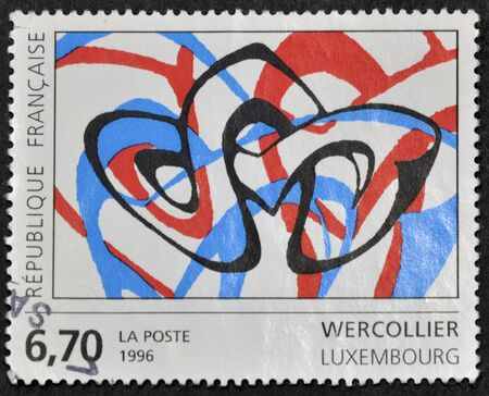 FRANCE - CIRCA 1996: A stamp printed in France shows a painting by Wercollier, circa 1996
