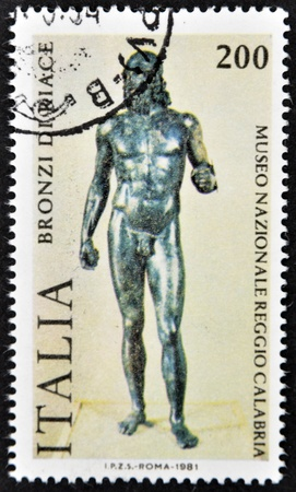 ITALY - CIRCA 1981: a stamp printed in Italy shows an image of Riace Bronze one of the couple of famous full-size Greek statues of nude bearded warriors, circa 1981  Stock Photo - 12464952