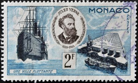 MONACO - CIRCA 1955: A stamp printed in Monaco shows portrait of Jules Verne, series devoted to his books, circa 1955