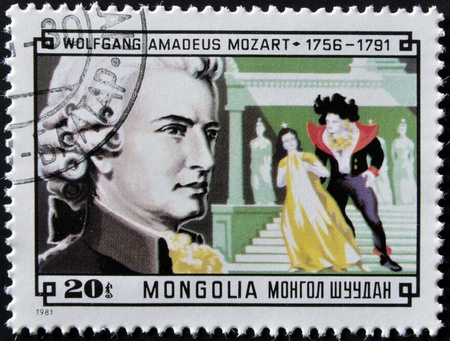 amadeus mozart: MONGOLIA - CIRCA 1981: A stamp printed in Mongolia shows image of the famous composer Wolfgang Amadeus Mozart, circa 1981