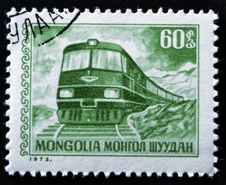 MONGOLIA - CIRCA 1973: A Stamp printed in MONGOLIA shows the Diesel Locomotive, circa 1973