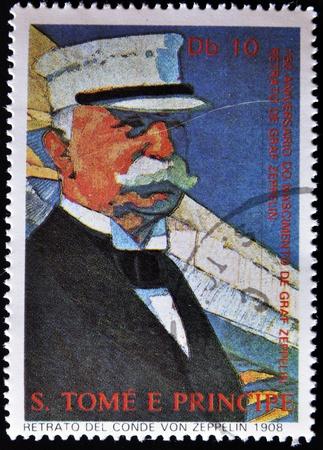 graf: SAO TOME AND PRINCIPE - CIRCA 1958: A stamp printed in Saint Tome e Principe showing portrait of Graf Zeppelin, circa 1958